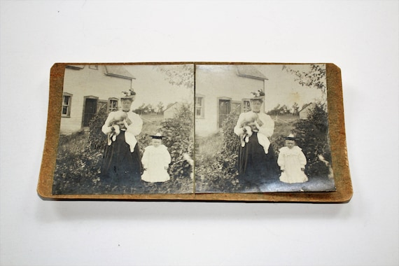 Antique Stereoview Card Victorian Woman and Child Handmade Early 1900s