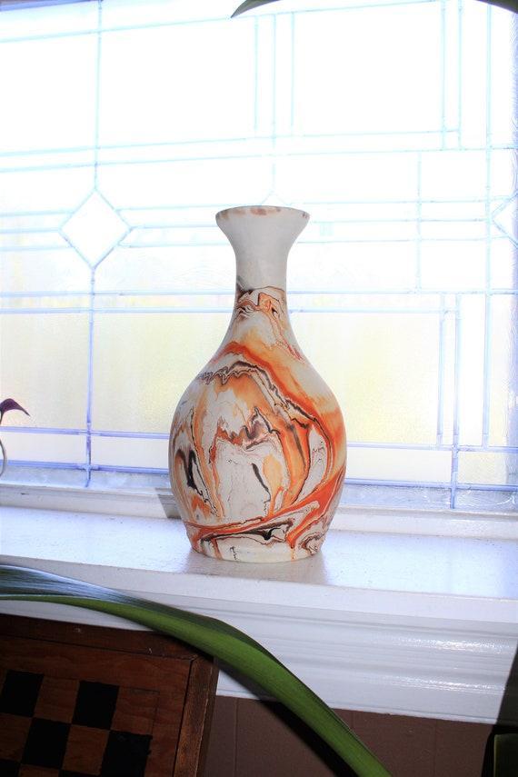 """Large 12"""" Nemadji Pottery Vase Swirl Pattern Vintage Southwestern Decor"""