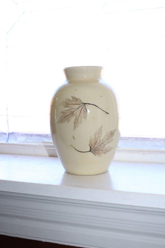 Nemadji Leaf Pottery Forest Impressions Vase Vintage Handmade
