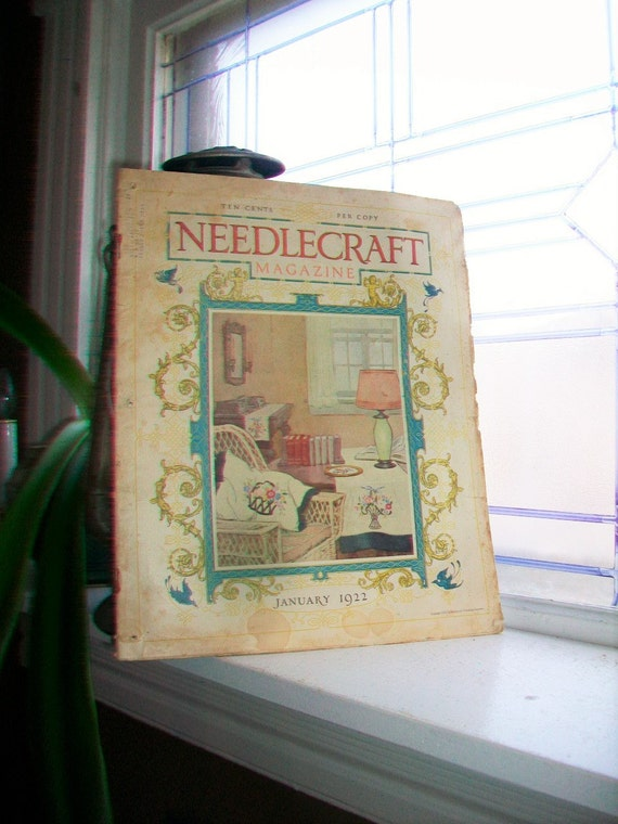 1922 Needlecraft Magazine January Issue with Large Cream Of Wheat Ad Vintage 1920s Sewing