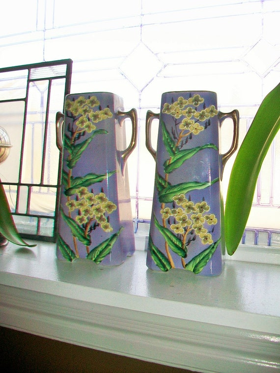 Purple Vases Relief Molded Flowers Royal Nishiki Porcelain Antique Art Deco