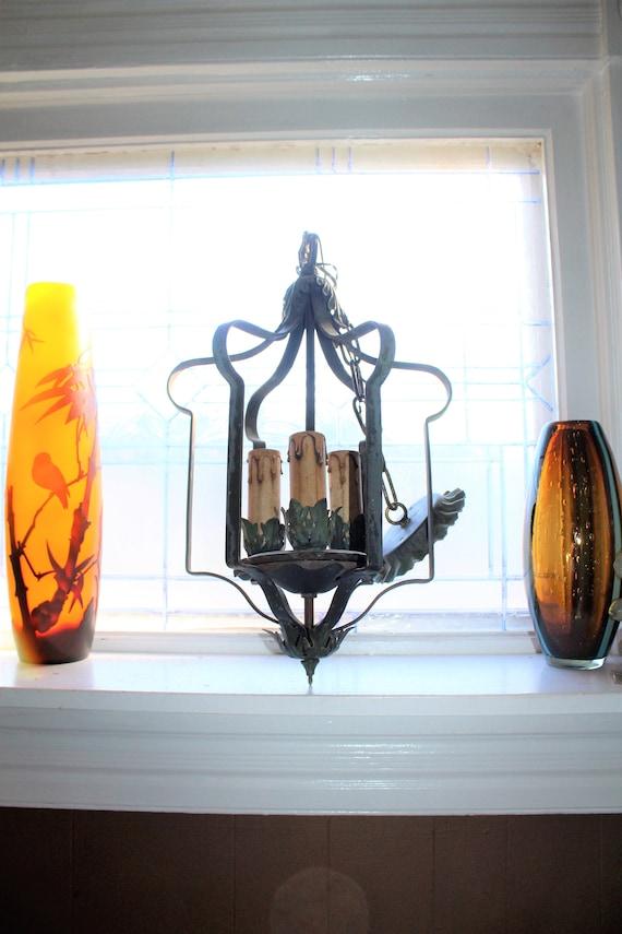 Antique Victorian 3 Light Ceiling Light Fixture Chandelier Circa 1890s