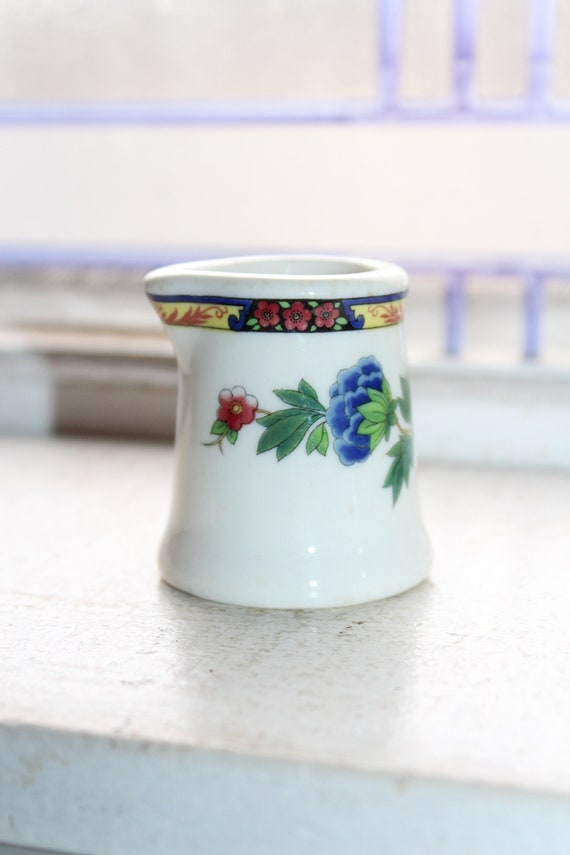 Vintage Restaurant Ware Individual Size Creamer White with Flowers