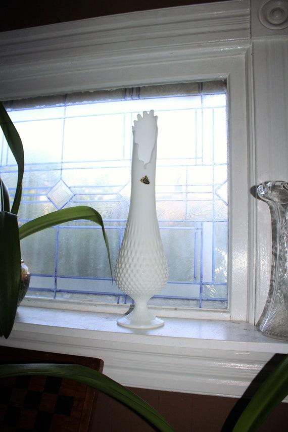 "Vintage 20"" Fenton Milk Glass Vase Swung Footed Hobnail Stretch Glass"