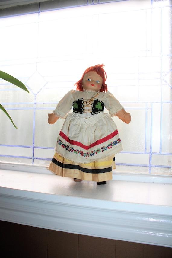 Vintage Irish Lass Cloth Doll