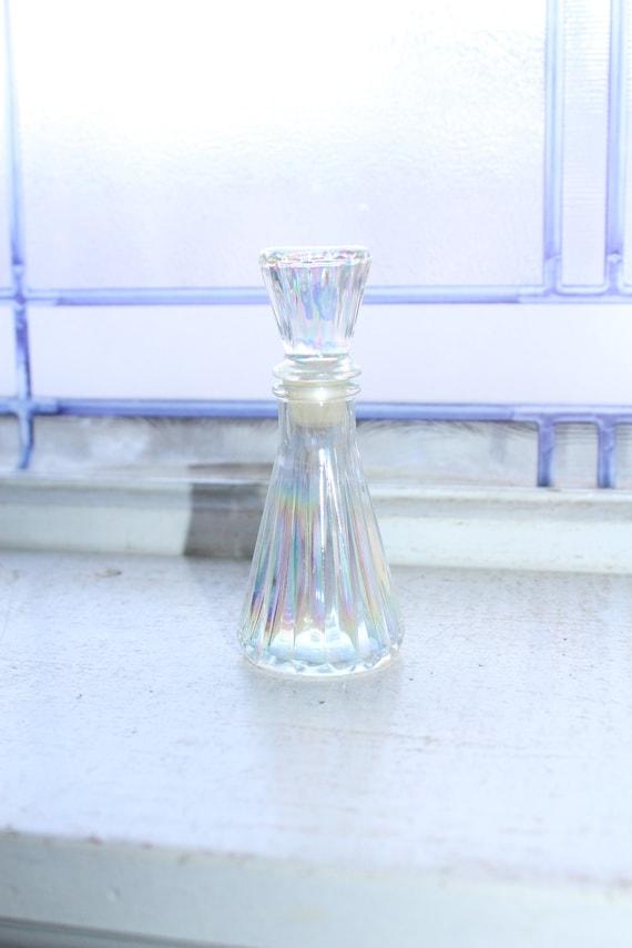 Vintage Perfume Bottle Iridescent Glass
