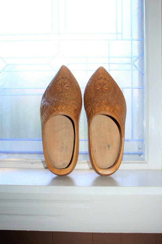 Vintage Wooden Shoes Clogs Scandinavian Decor