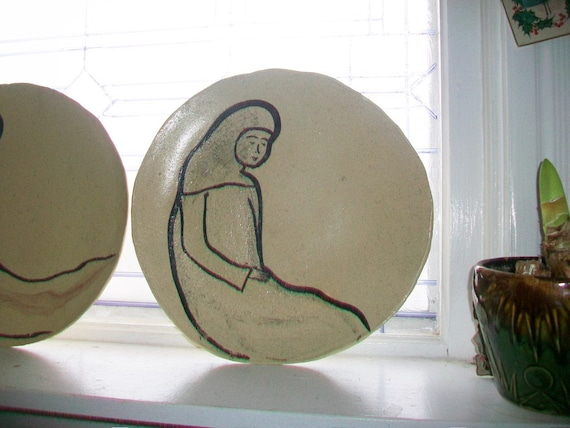 Mid Century Modern Art Pottery Large Plate 1950s Artist Signed