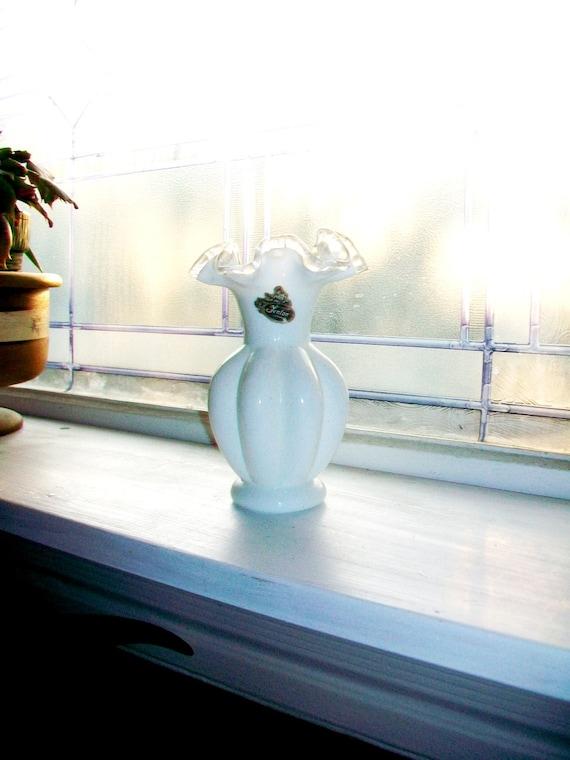 Fenton Silver Crest Vase Vintage Milk Glass