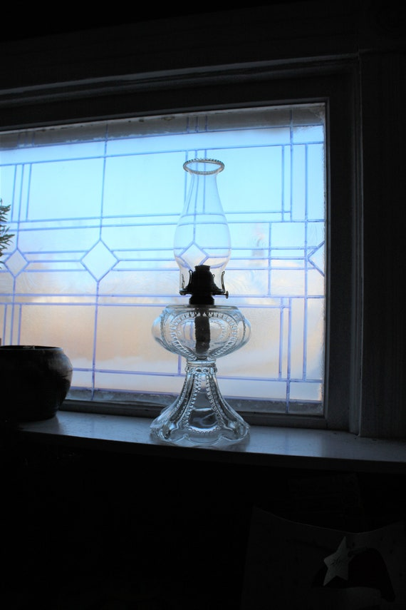 Antique Victorian EAPG Glass Oil Lamp with Chimney