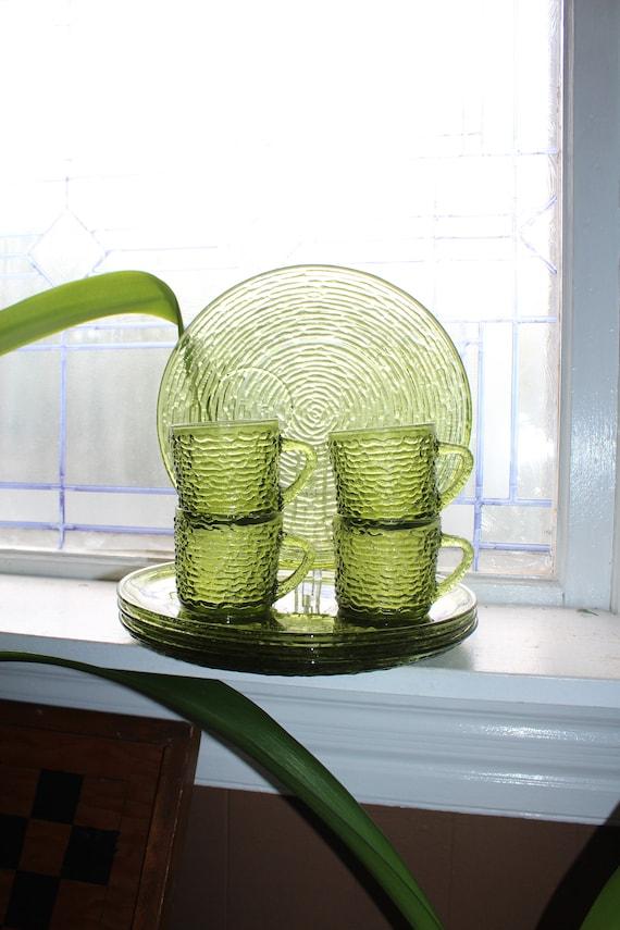 8 Pc Snack Set Soreno Avocado Green Glass Bark Design Anchor Hocking