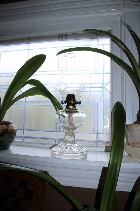 Antique Glass Oil Lamp with Chimney