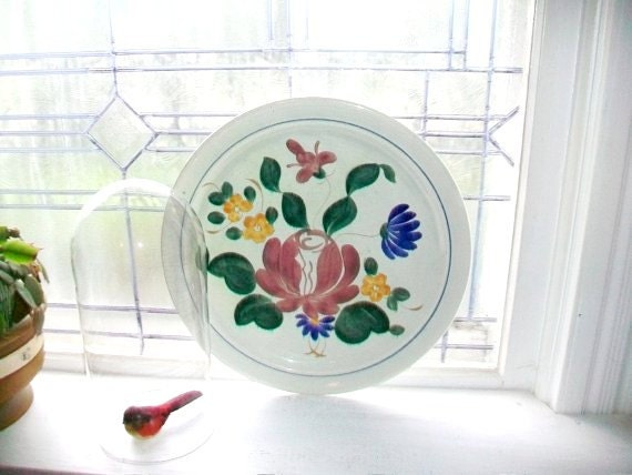 Large Platter Red Wing Pottery Orleans 1940s Vintage Chop Plate