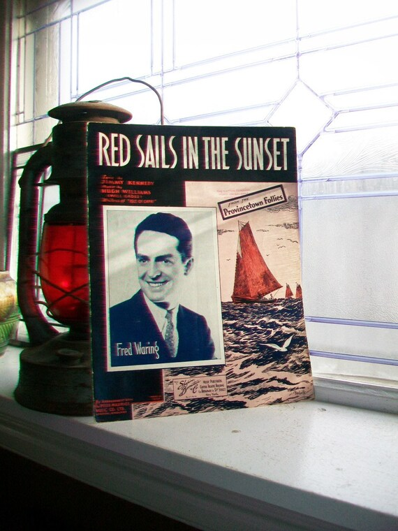 Vintage Sheet Music 1935 Red Sails In The Sunset