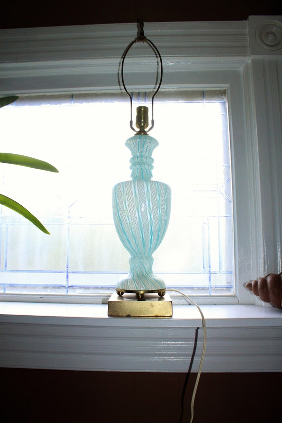 Vintage Murano Glass Table Lamp Blue and White Latticino 1950s