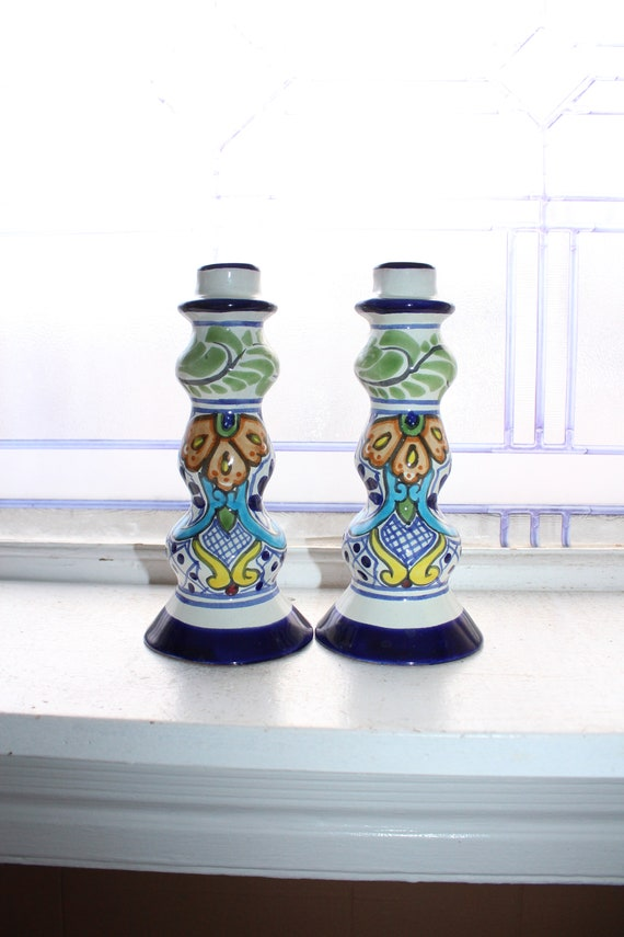 Colorful Pottery Candlestick Holders Pair Vintage Mexico