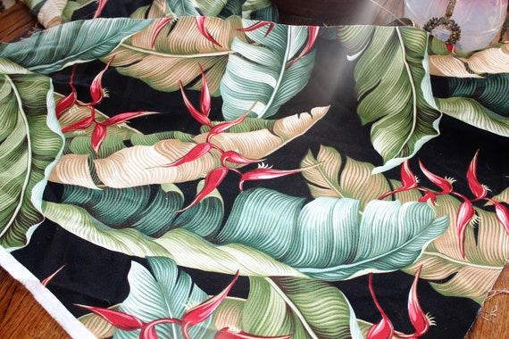 Vintage Mid Century Style Barkcloth Fabric Flowers