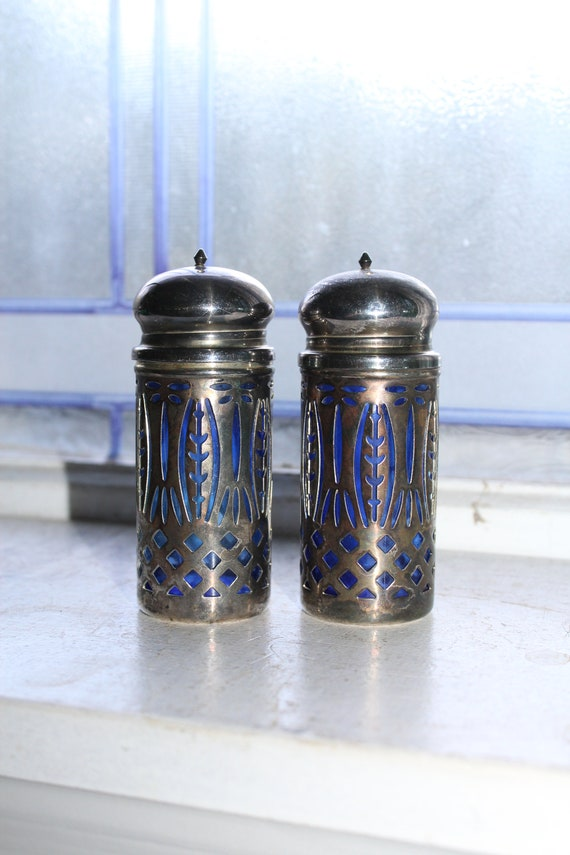 Vintage Silverplate and Blue Glass Salt & Pepper Shakers