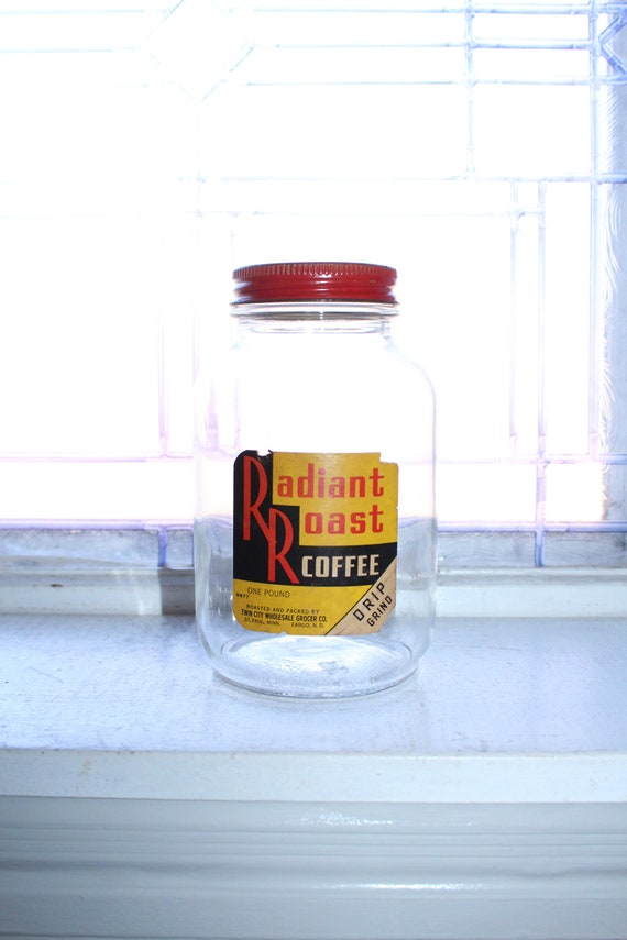Vintage Radiant Roast Coffee Jar 1940s Kitchen Decor 1 Lb. Size