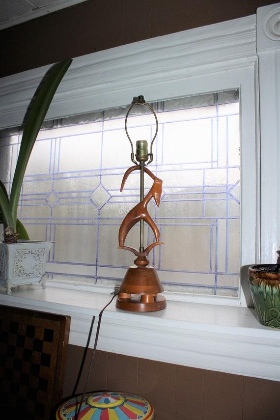 Mid Century Table Lamp Wood Gazelle 1950s