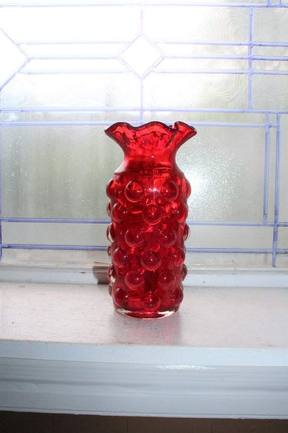 Red Blenko Glass Bubble Vase with Ruffled Rim Vintage 1970s