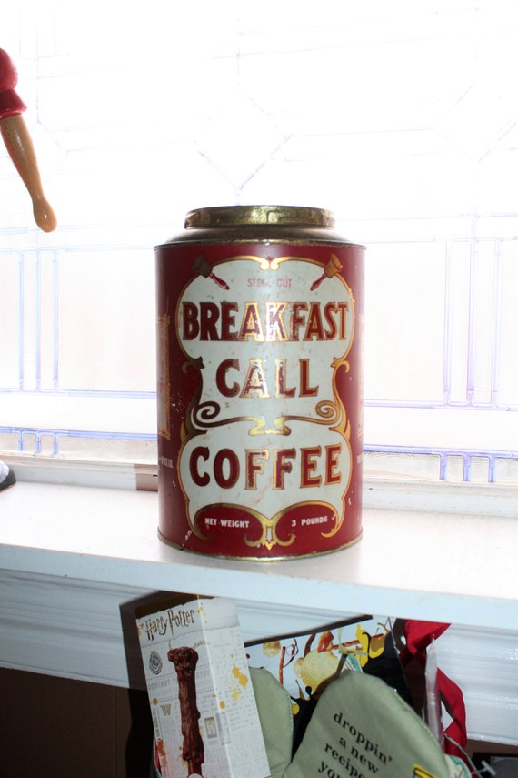Large Antique Breakfast Call Coffee Tin 3 Lb Size