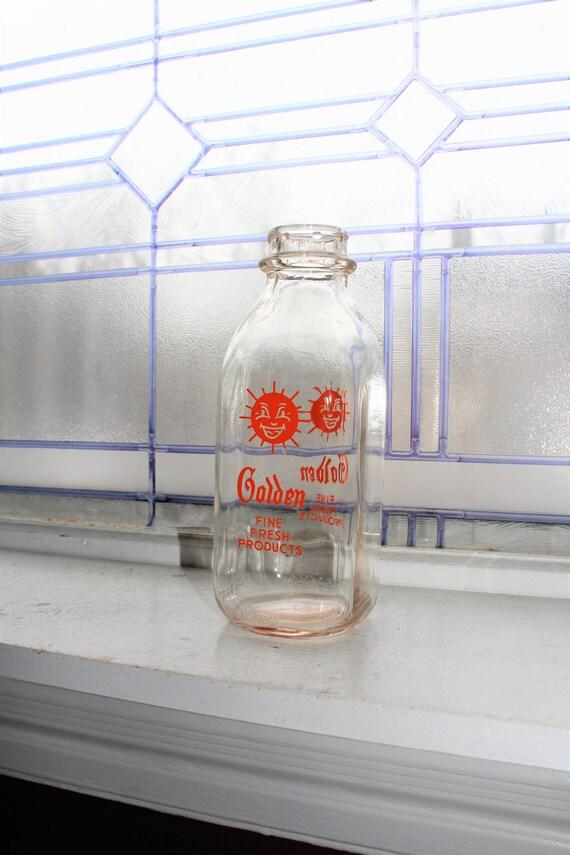 Vintage Square Quart Milk Bottle Golden Dairy