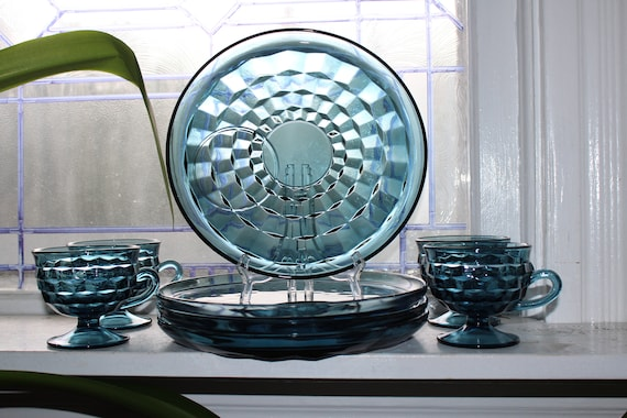 4 Place Setting Deep Blue Glass Cubist Luncheon Plates and Cups
