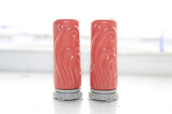 Vintage Mid Century Salt & Pepper Shakers Coral Pink and Gray Superlon