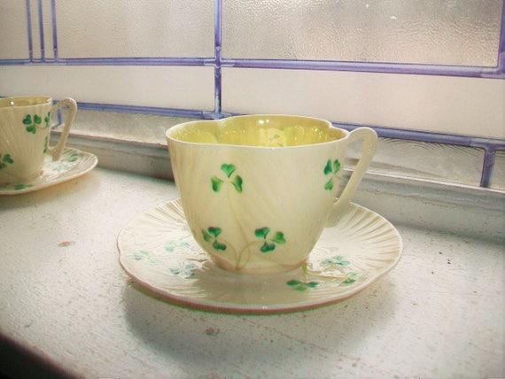 Vintage Irish Belleek Cup and Saucer Third Green Mark