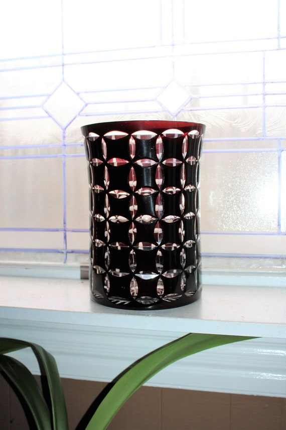 Large Vintage Ruby Red Cut To Clear Bohemain Glass Vase Czech