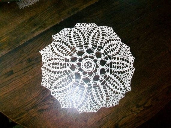 Vintage Lace Doily Hand Crocheted Off White Round 15""
