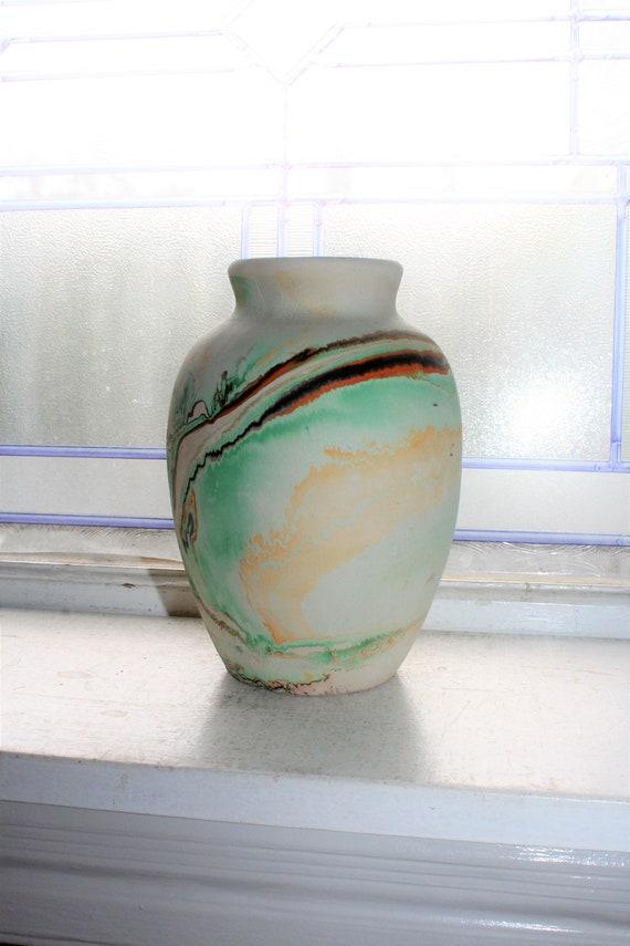 Large Vintage Nemadji Pottery Vase Swirl Pottery Southwestern Decor