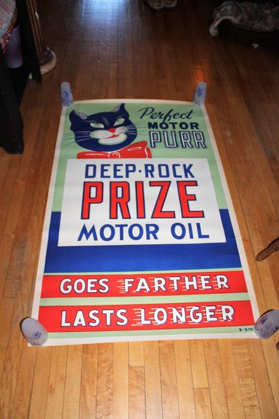 Deep Rock Prize Motor Oil Poster Vintage 1940s Gas Station Advertising