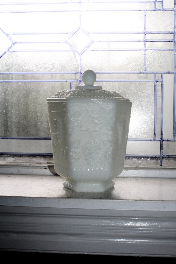 Fire King Milk Glass Cookie Jar Ice Bucket with Grapes Pattern