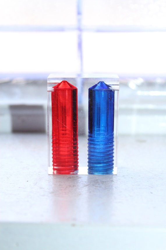 Vintage Mid Century Lucite Salt and Pepper Shakers Blue and Red