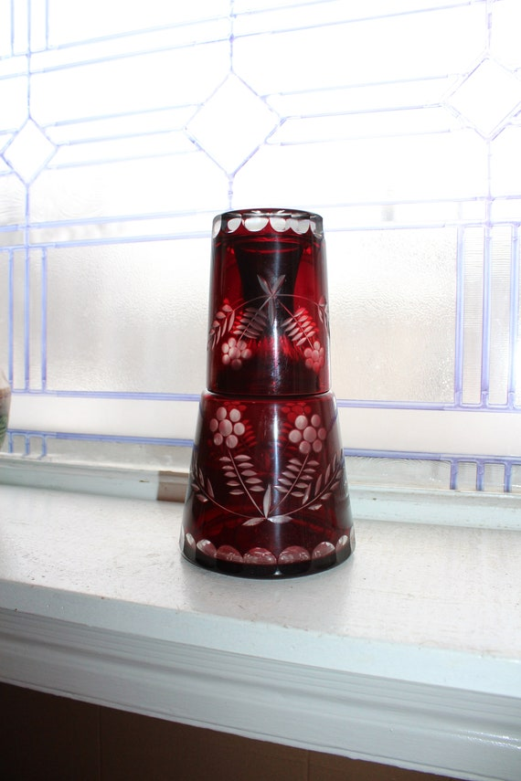 Bohemian Glass Night Set Tumble Up Red Cut to Clear Carafe & 2 Tumblers