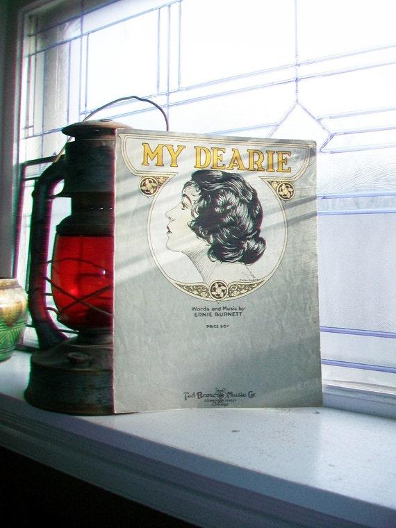 Vintage Sheet Music 1920 My Dearie by Ernie Burnett