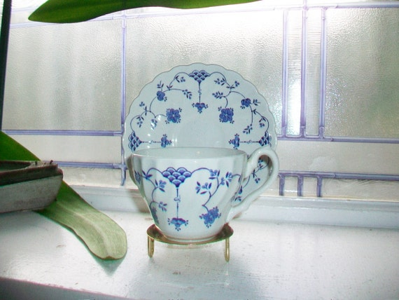 Vintage Yorktown Blue and White Cup and Saucer Salem China Olde Staffordshire Several Available