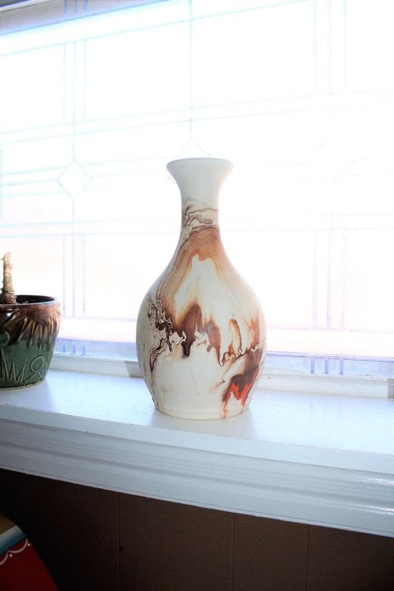 """Huge 12"""" Nemadji Pottery Vase Swirl Pattern Vintage Southwestern Decor"""