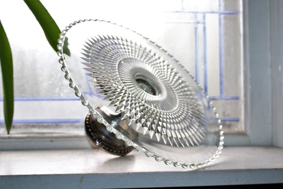 Sterling Silver & Glass Cake Stand Vintage Duchin