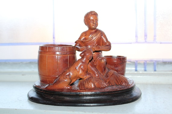 Antique 19th Cent. Redware Figural Match Holder Safe Smoke Stand