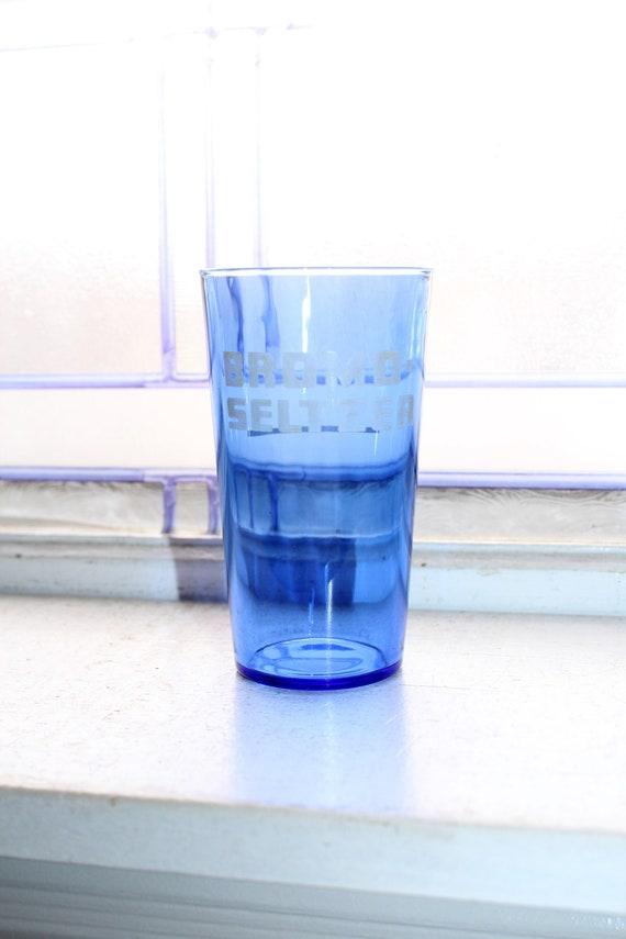 Cobalt Blue Bromo Seltzer Glass Tumbler Vintage 1930s