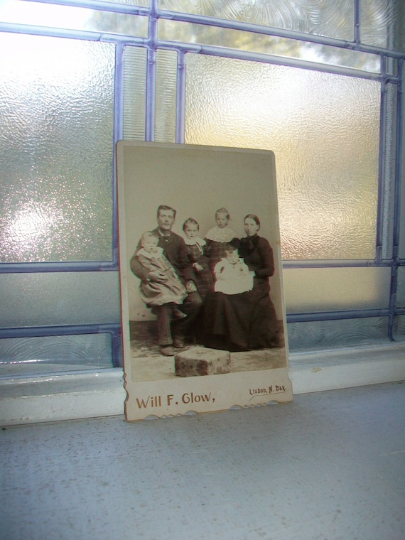 Antique Cabinet Card Photograph Large Victorian Family 1800s