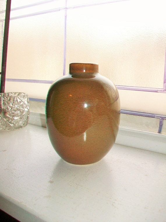 Brown Pottery Vase Vintage Squat Bulbous Vase