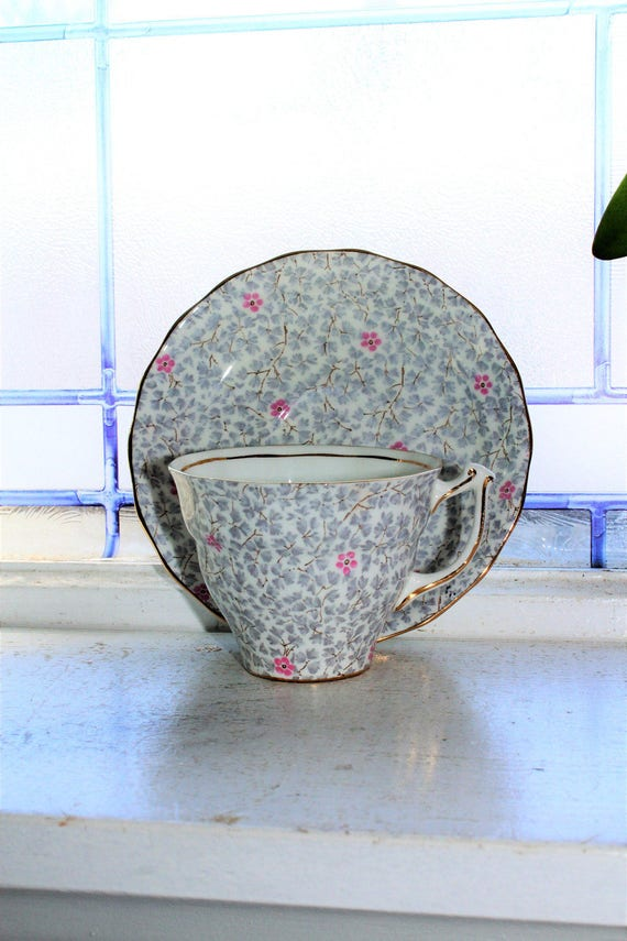 Vintage Old Royal Bone China Teacup and Saucer Gray and Pink