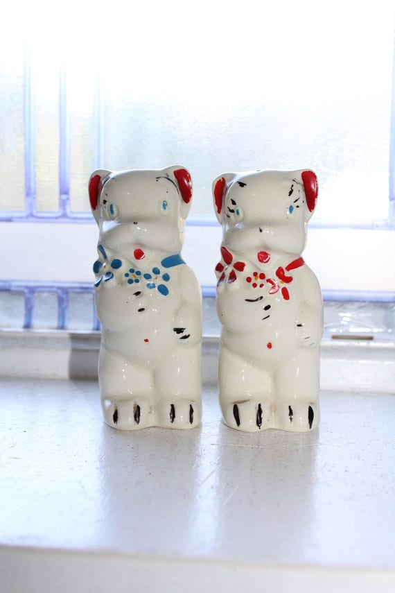 Vintage Salt and Pepper Shakers Bears American Bisque