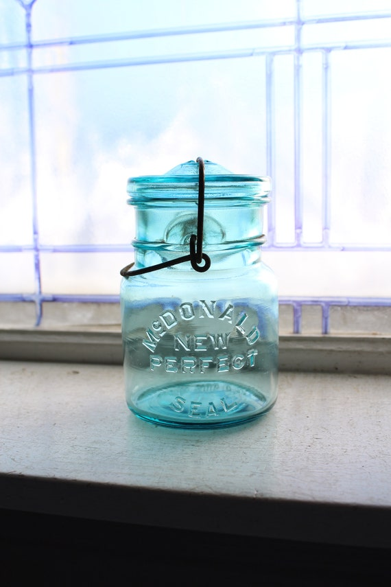 Blue Canning Jar McDonald New Perfect Seal Pint Mason Jar & Glass Lid