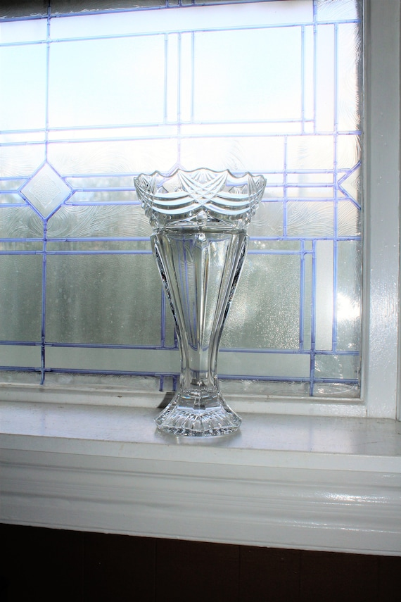 Elegant Vintage Crystal Trumpet Vase 12 Inch
