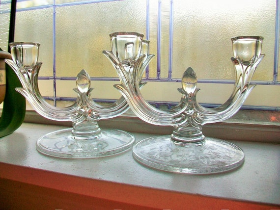 Etched Glass Candleholders Pair Prelude by New Martinsville Vintage 1930s